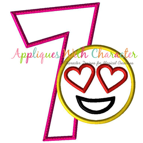 Love Emoji Seven Applique Design