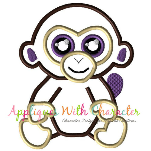 Beanie Monkey Applique Design