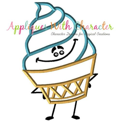 Emoji Ice Cream Applique Design
