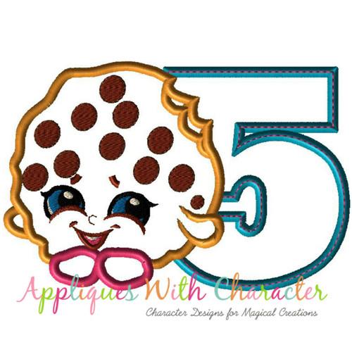 Five Shopikin Cooky Cookie Applique Design