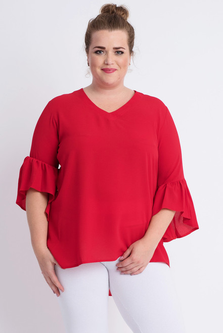B-7012- TOP L/S FLUTTER - BCHS - B.RED -015