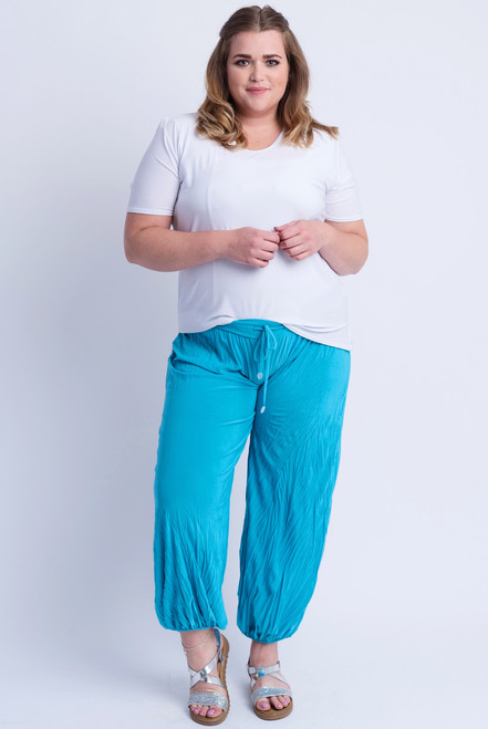 D-21 - Trouser Easy Crush-  Turquoise - 011