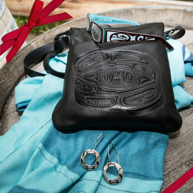 Esme Brown/Blue reading glass with Embossed leather handbag, earrings and wool shawl