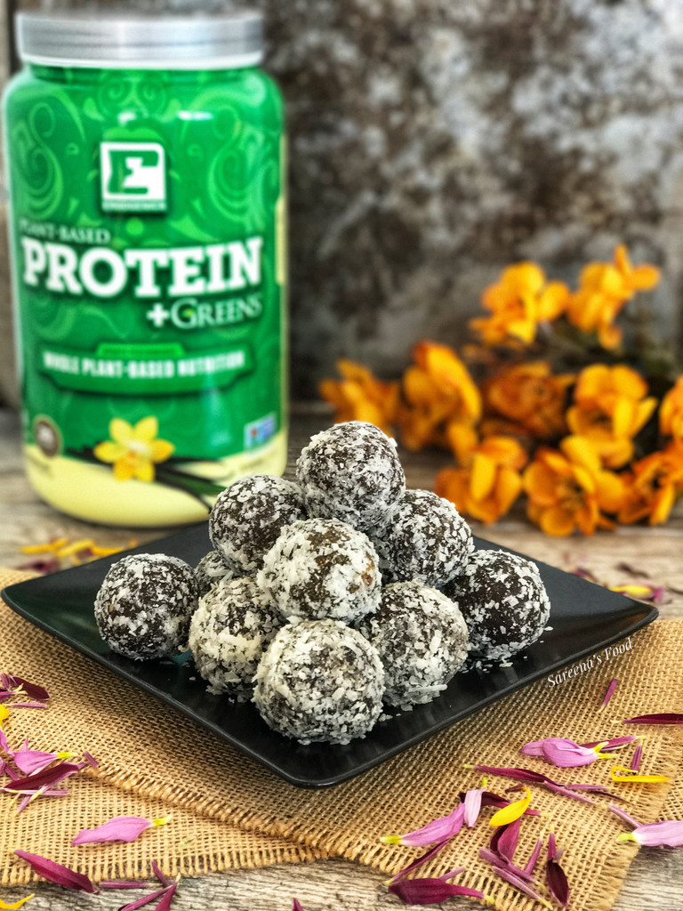 Chocolate Coconut Protein Bliss Balls