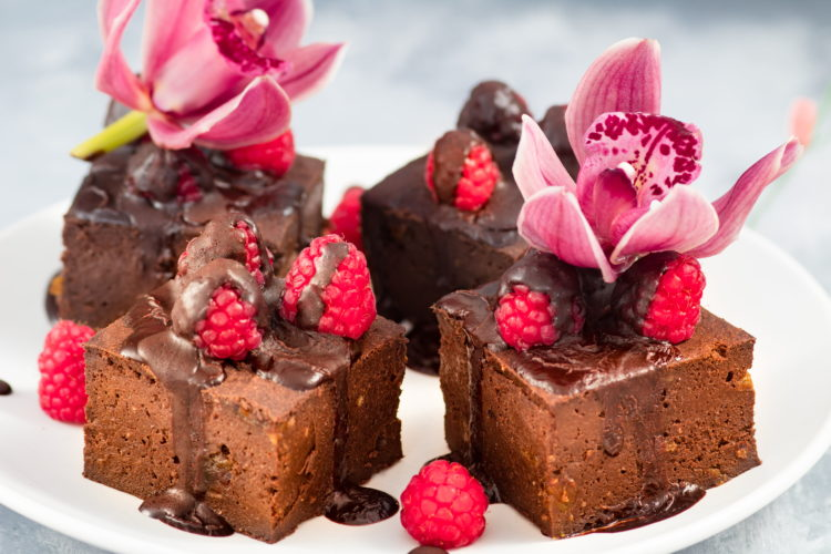 Double Chocolate Raspberry Protein Brownies