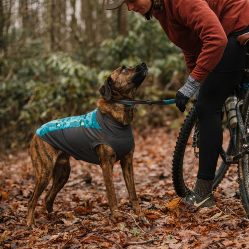 Ruffwear Climate Changer Pullover in colour Glacier showing on dog