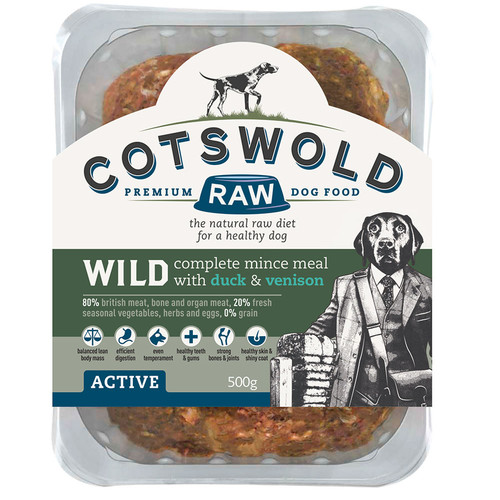 Cotswold RAW Wild Range Duck & Venison. Great British ingredients from the Cotswolds for your dog.