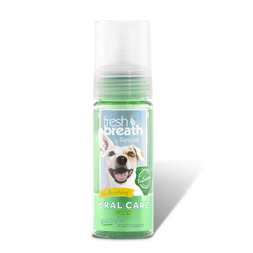 Tropiclean Oral Care foam. Quickly freshen your dog breath