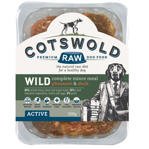 Cotswold RAW Wild Range dog food available at K9active. Wild Pheasant & Duck Mince
