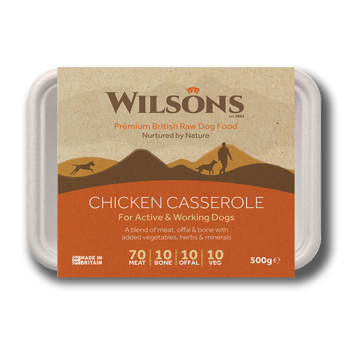 RAW Frozen Dog Food K9active Dunfermline. Wilsons Chicken Casserole in Bio Pack packaging