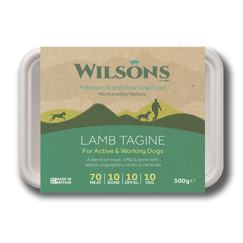 Wilsons Premium RAW Frozen Lamb Tagine in Bio Pack packaging. Buy Today K9active Fife
