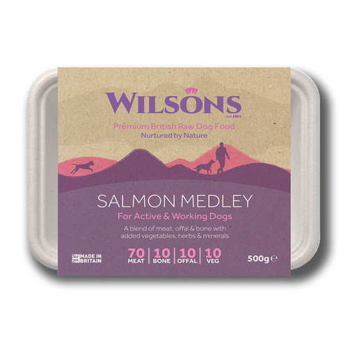 Wilsons Premium RAW Frozen Salmon Medley dog food in Bio pack packaging