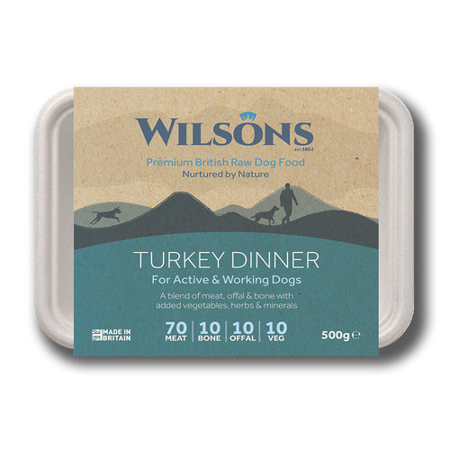Wilsons Premium RAW Frozen Turkey Dinner dog food in Bio Pack Packaging