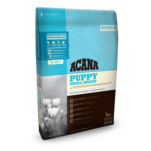 Acana Puppy Small Breed Dry Food showing the packaging on the front