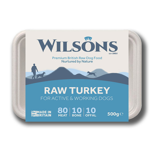 Wilsons RAW Turkey 80 10 10 dog food in Eco friendly packaging