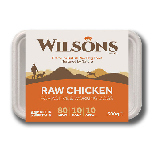 Wilsons RAW Chicken 80 10 10 Frozen Dog Food, 500g pack