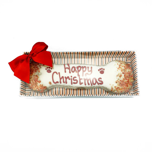 Laughing Dog Large Christmas Biscuit Bone front view, K9active