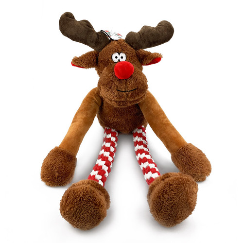 Supersize Plush Reindeer Christmas Toy front view, K9active