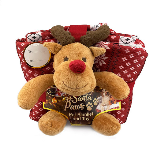 Santa Paws Blanket and Reindeer Gift Set by Scruffs front view, K9active