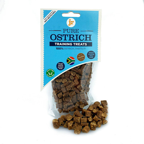 Ostrich Training treats by JR Pet Products, showing packaging