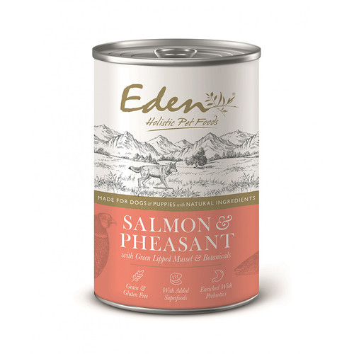 Eden Holistic Dog Food Gourmet Salmon & Pheasant wet food, showing outer packaging