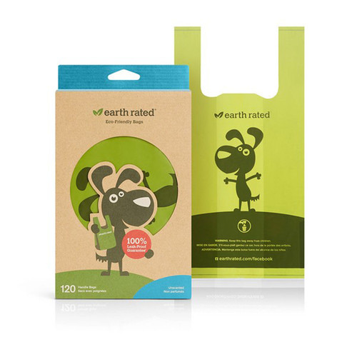 120 Unscented Tie Handle Poo Bags by Earth Rated