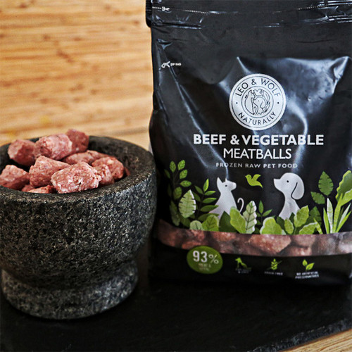 Leo & Wolf Beef and Vegetable Meatballs,  showing the packaging and the meatballs in a bowl