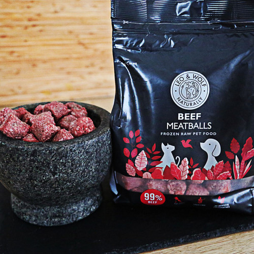 Leo & Wolf Beef Meatballs showing outer packaging and meatballs in a bowl