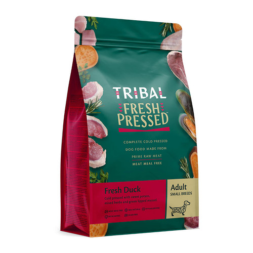 Adult Small Breed Cold Pressed Food by Tribal, in the flavour Duck, showing the packaging