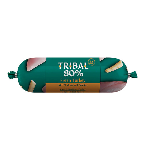 Tribal Gourmet Sausage for dogs in the flavour Turkey, showing packaging