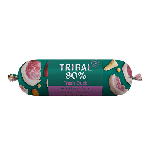 Tribal Gourmet Sausage for dogs in the flavour Duck, showing packaging