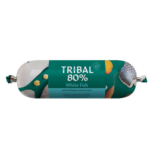 Tribal Gourmet Sausage for dogs in the flavour White Fish, showing packaging