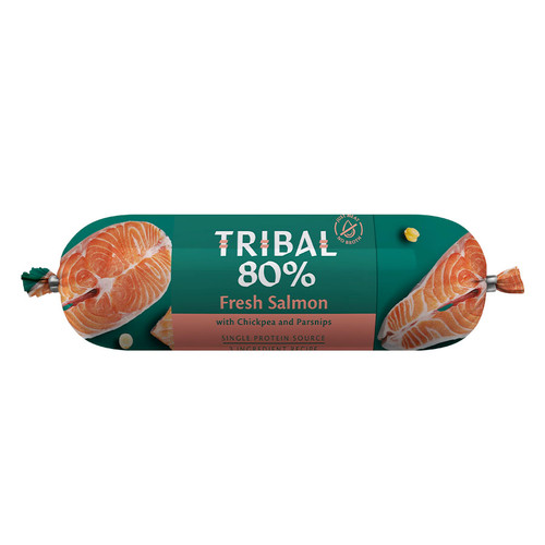 Tribal Gourmet Sausage for dogs in the flavour Salmon, showing packaging
