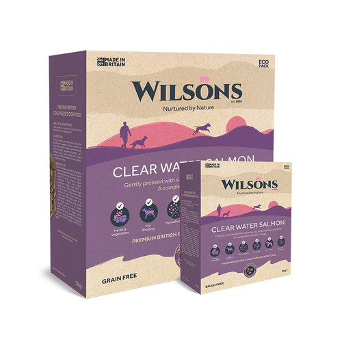 Wilsons Cold Pressed Food, showing the 2kg and the 10kg eco pack boxes