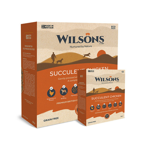 Succulent Chicken Cold Pressed Dog Food by Wilsons showing packaging in 2kg and 10kg