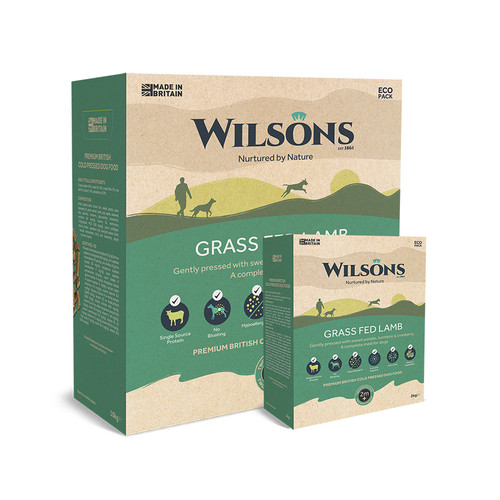 Grass Fed Lamb by Wilsons, Cold Pressed Food, showing 2kg and 10kg packaging