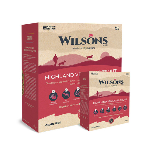 Highland Venison & Trout Cold Pressed Food by Wilsons showing 2kg and 10kg eco packaging