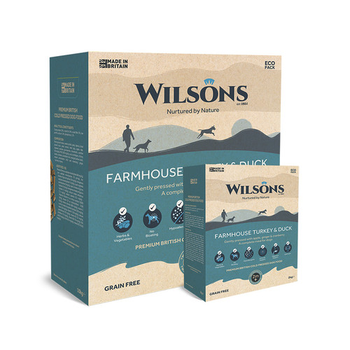 Wilsons Farmhouse  Turkey and Duck Wilsons Cold Pressed Dog food showing the packaging in 2kg and 10kg