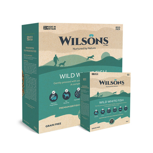 Wild White Fish Cold Pressed Dog Food by Wilsons showing packaging in 2kg and 10kg