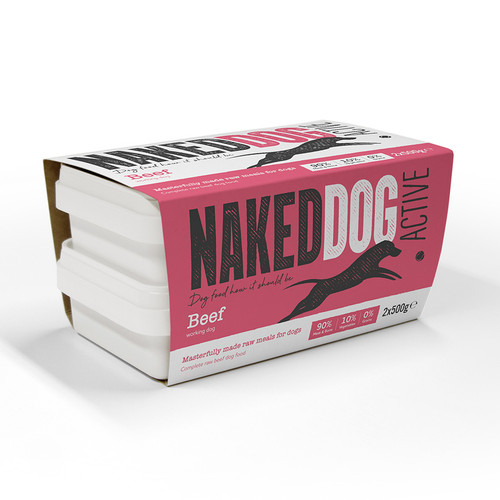 Naked Dog Active Beef RAW Dog Food 2x500g Pack