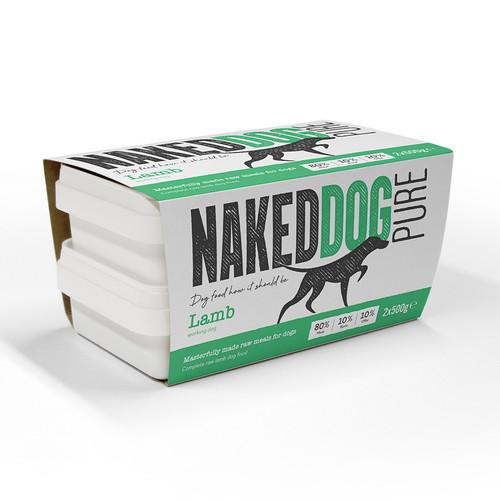 Naked Dog Pure Lamb RAW Dog Food 2x500g Pack