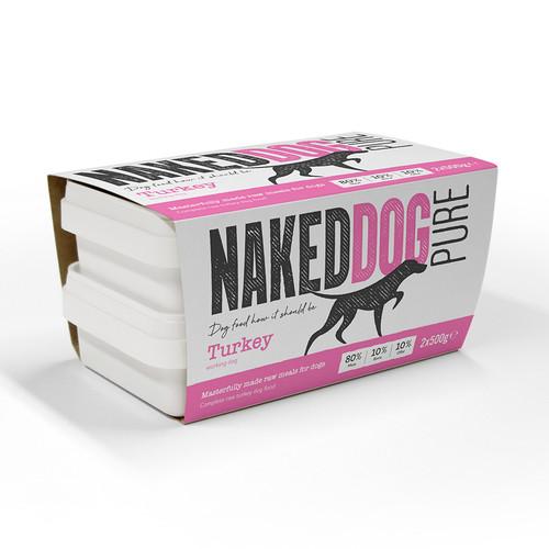 Naked Dog Pure Turkey RAW Dog Food 2x500g Pack