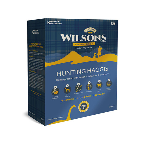 Hunting Haggis Dog Food by Wilsons, showing the 2kg Recyclable Box