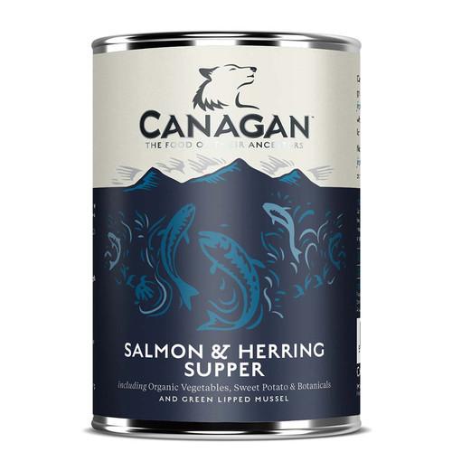 Canagan Salmon and Herring Tinned Dog Food.