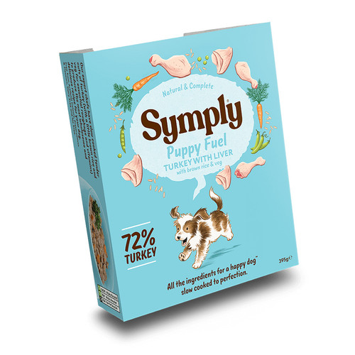 Puppy Fuel wet dog food by Symply, showing outer packaging