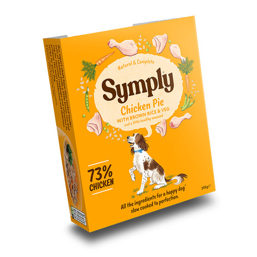 Chicken Pie Symply Wet Dog Food, showing the outer packaging