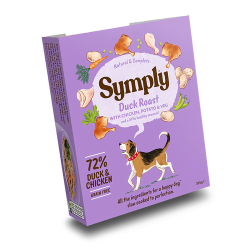 Symply wet dog food tray in Duck Roast, showing outer packaging