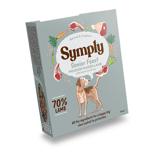 Symply Senior Feast Wet Dog Food, showing the outer packaging