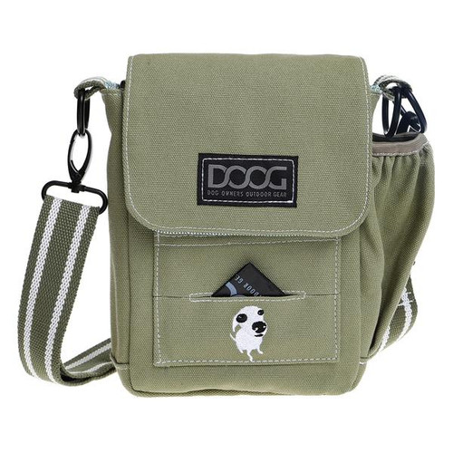 Doog Walkie Bag in colour Green. Perfect Walking bag with sections for treats, poo bags, bottles and your phone or keys.