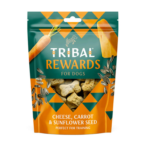 Tribal Rewards Dog Biscuits in the flavour Cheese, Carrot, and Sunflower Seeds, showing treats in the packaging.